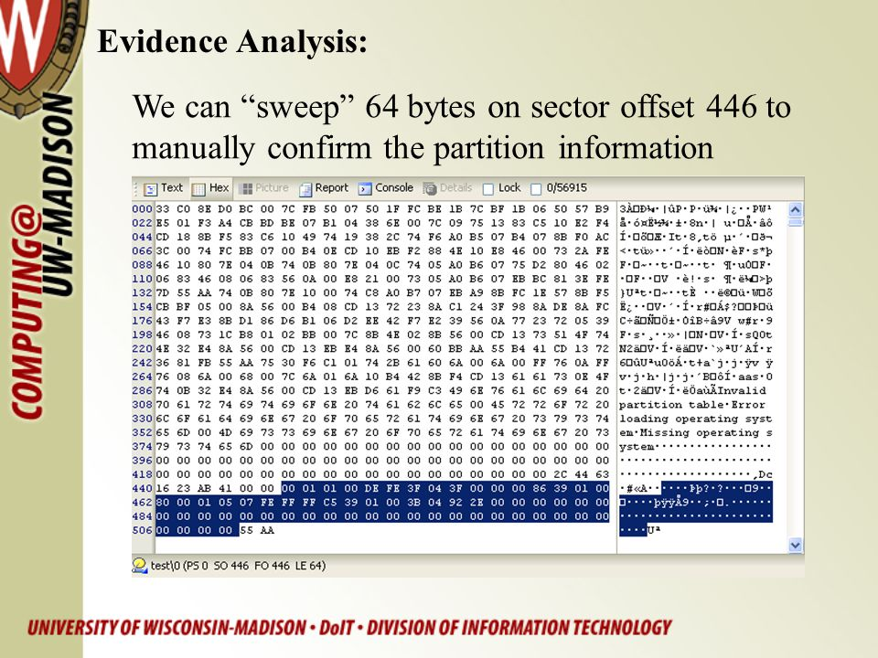 Evidence Analysis: We can sweep 64 bytes on sector offset 446 to.