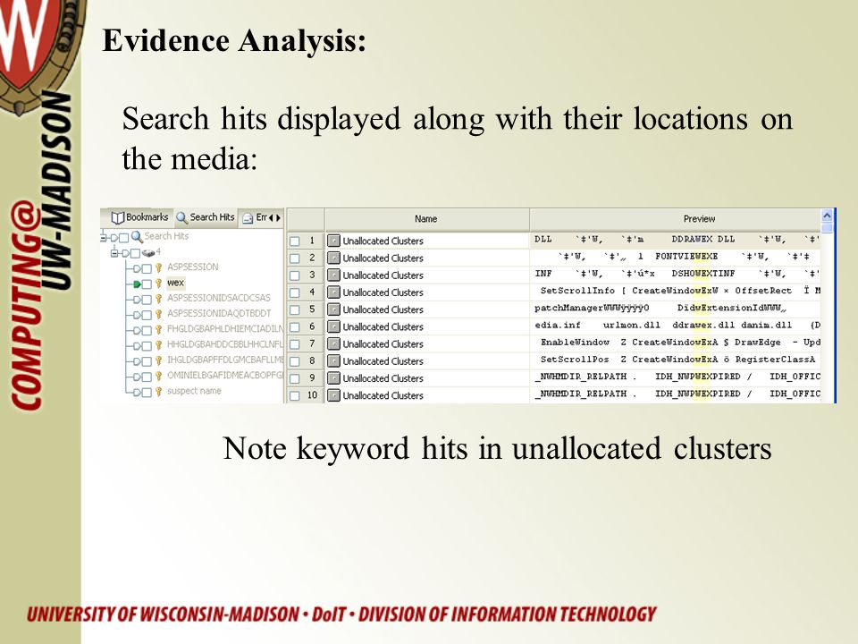 Evidence Analysis: Search hits displayed along with their locations on.