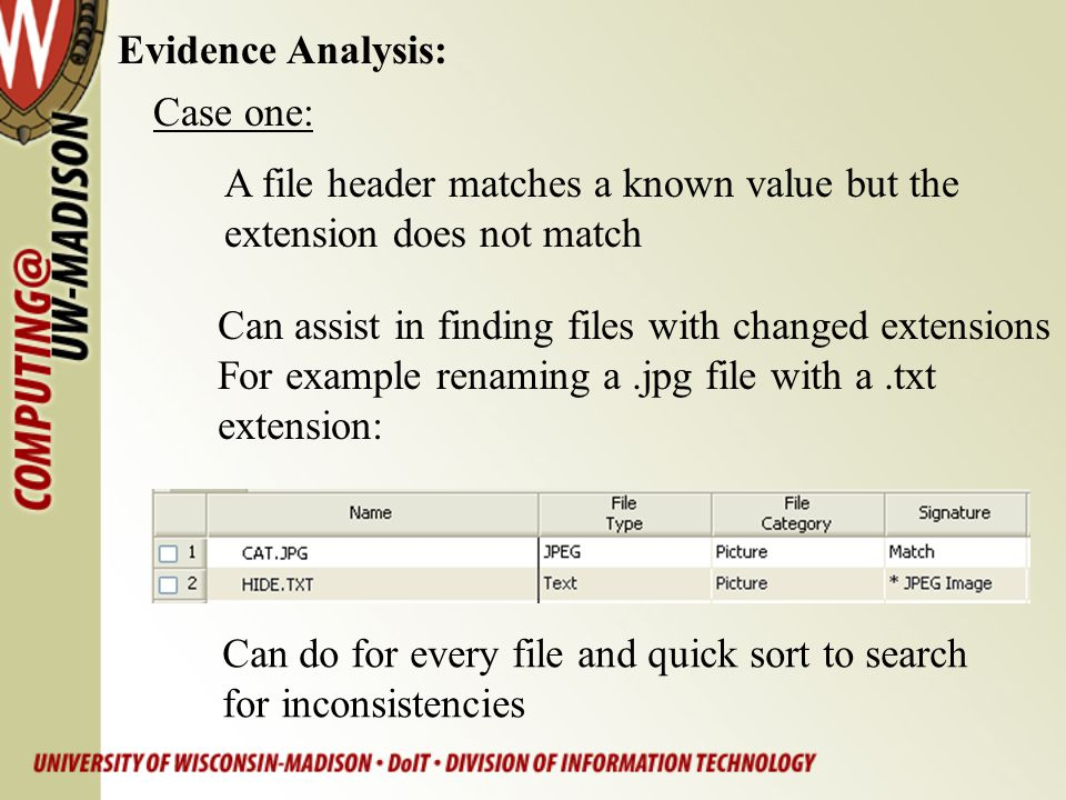 Evidence Analysis: Case one: A file header matches a known value but the. extension does not match.