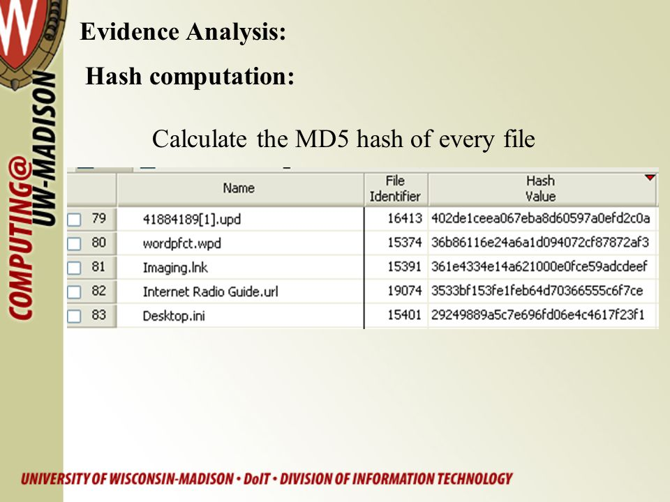 Evidence Analysis: Hash computation: Calculate the MD5 hash of every file