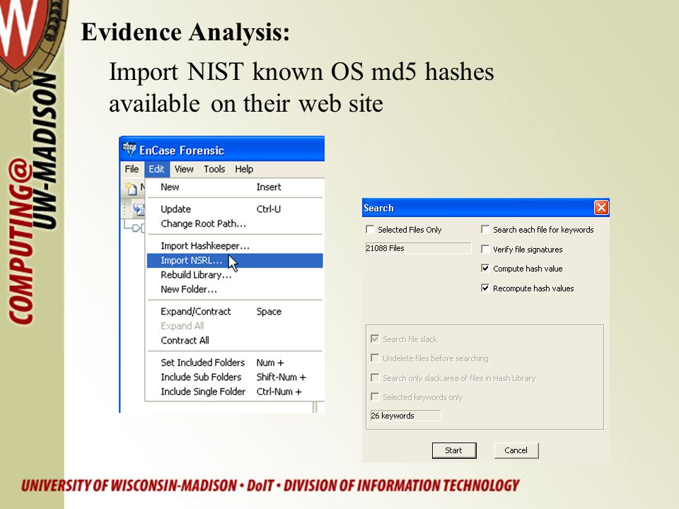 Evidence Analysis: Import NIST known OS md5 hashes available on their web site