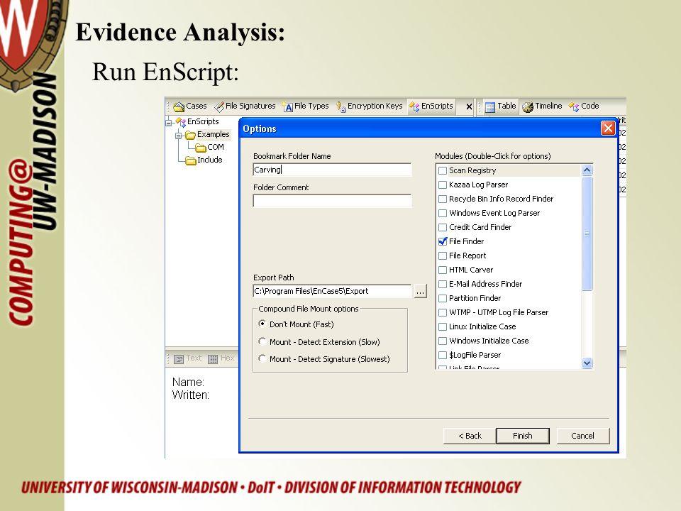 Evidence Analysis: Run EnScript: