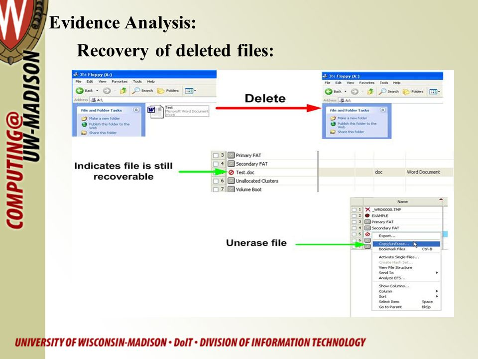 Evidence Analysis: Recovery of deleted files: