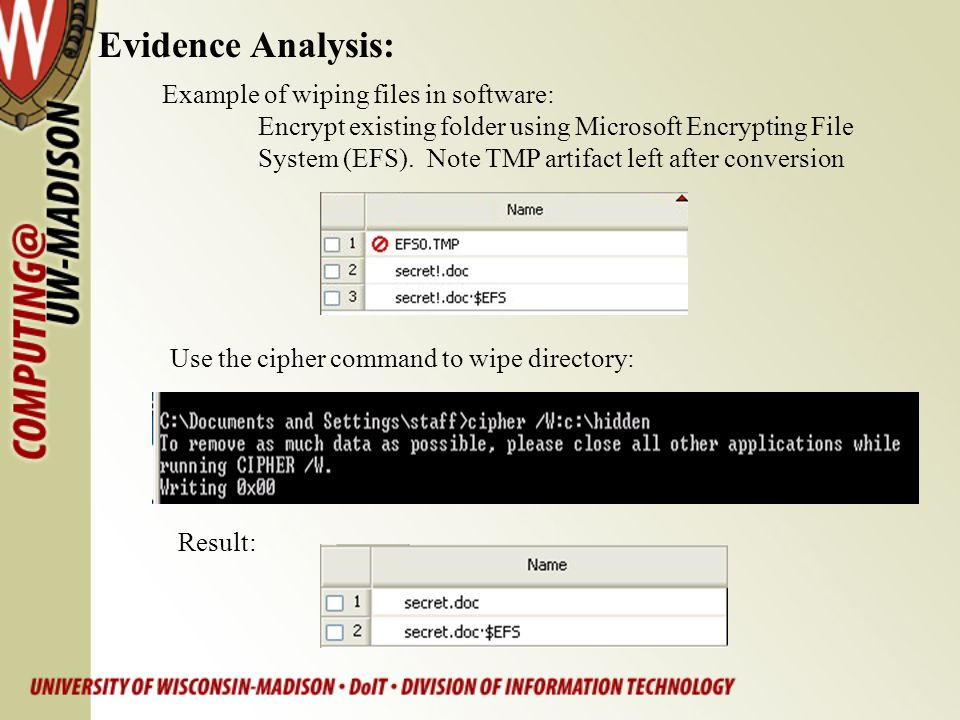 Evidence Analysis: Example of wiping files in software: