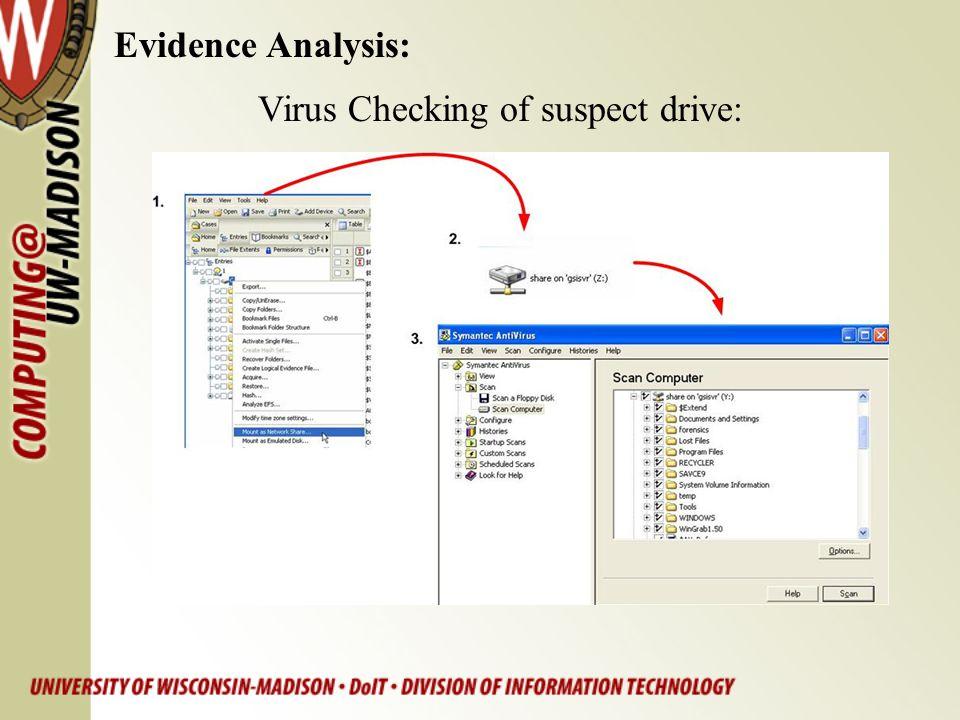 Evidence Analysis: Virus Checking of suspect drive: