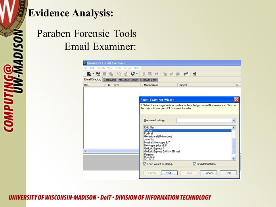 Evidence Analysis: Paraben Forensic Tools Email Examiner: