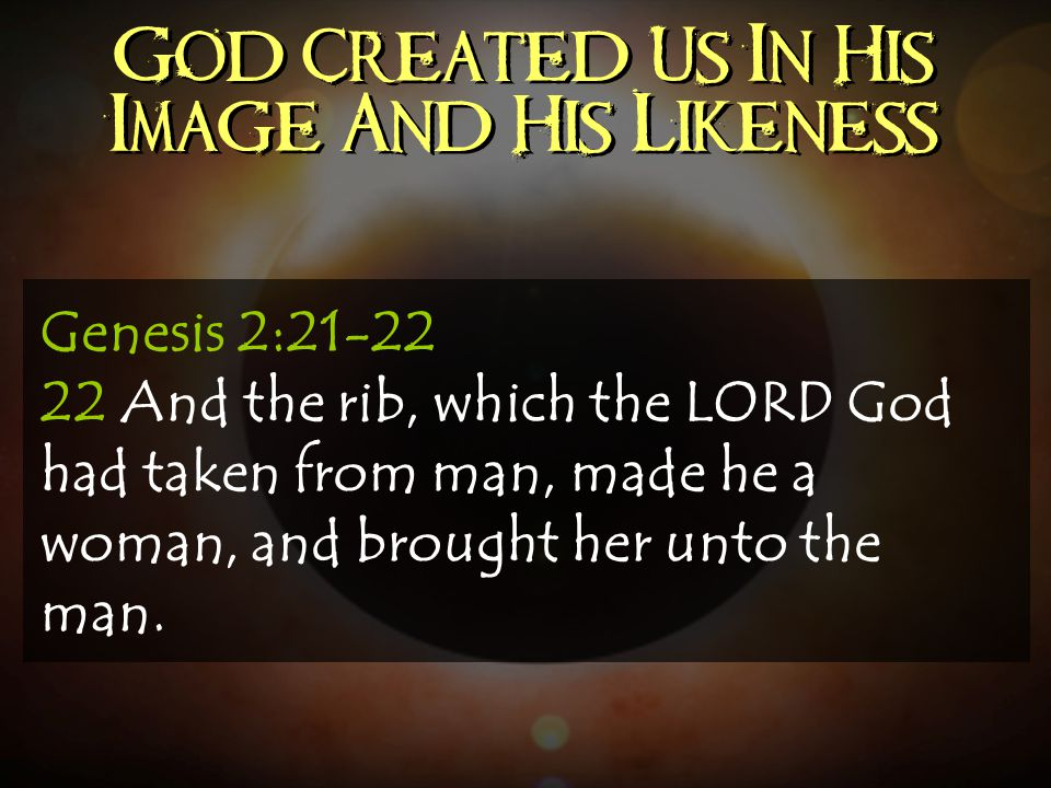 God Created Us In His Image And His Likeness