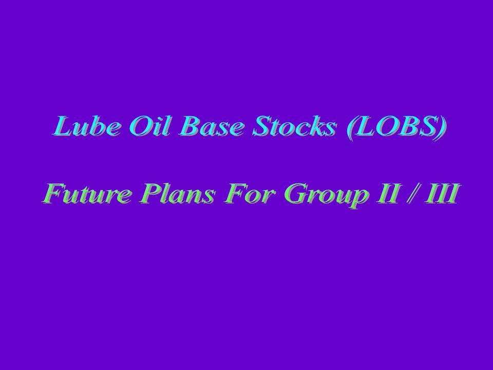 Lube Oil Base Stocks (LOBS) Future Plans For Group II / III