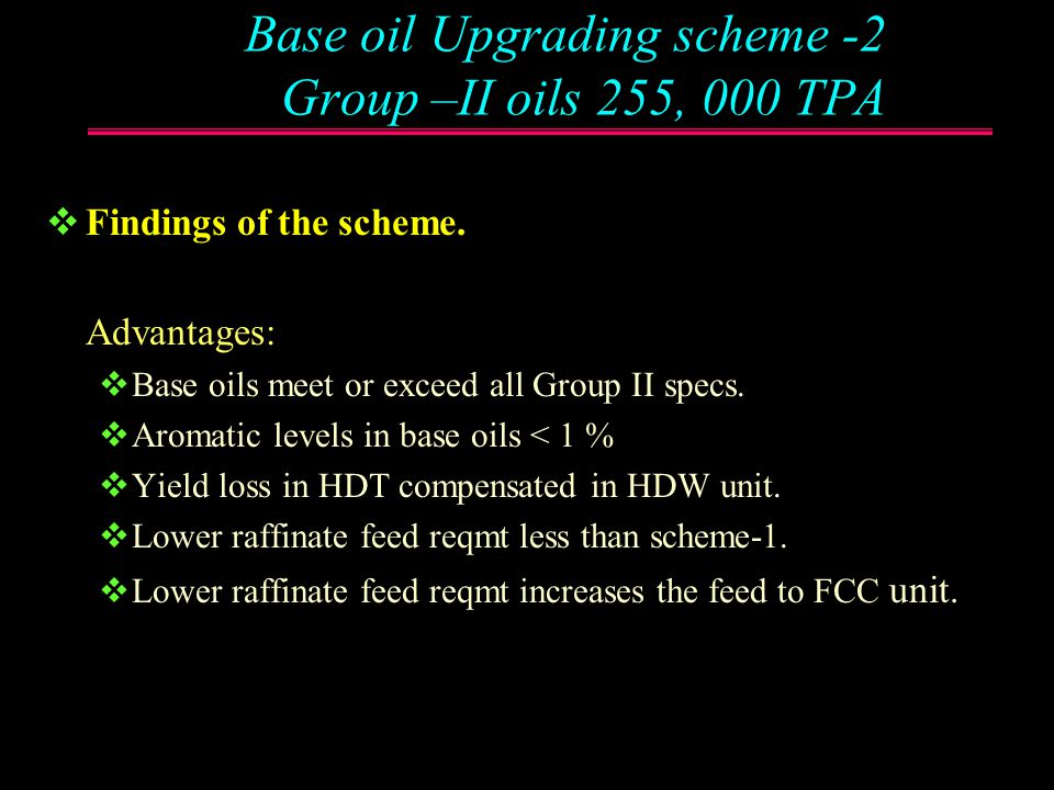 Base oil Upgrading scheme -2 Group –II oils 255, 000 TPA