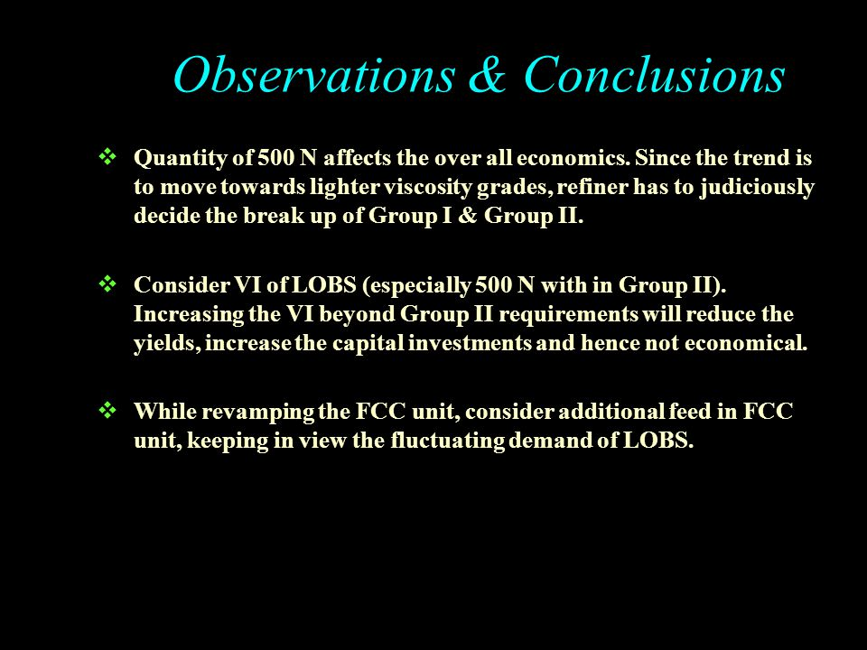 Observations & Conclusions
