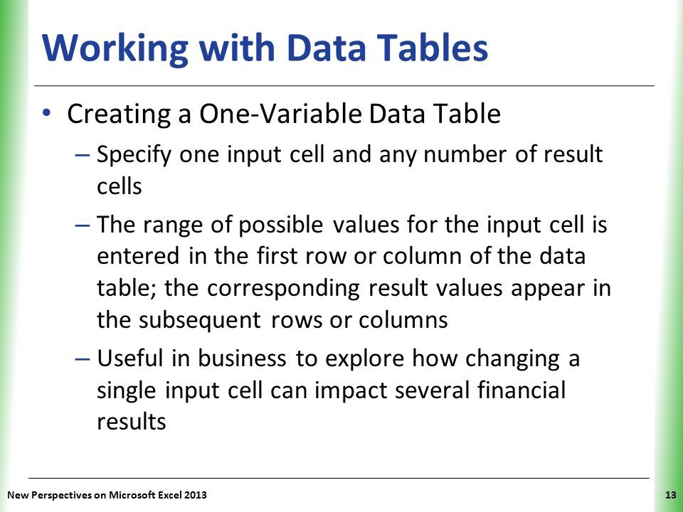 Working with Data Tables