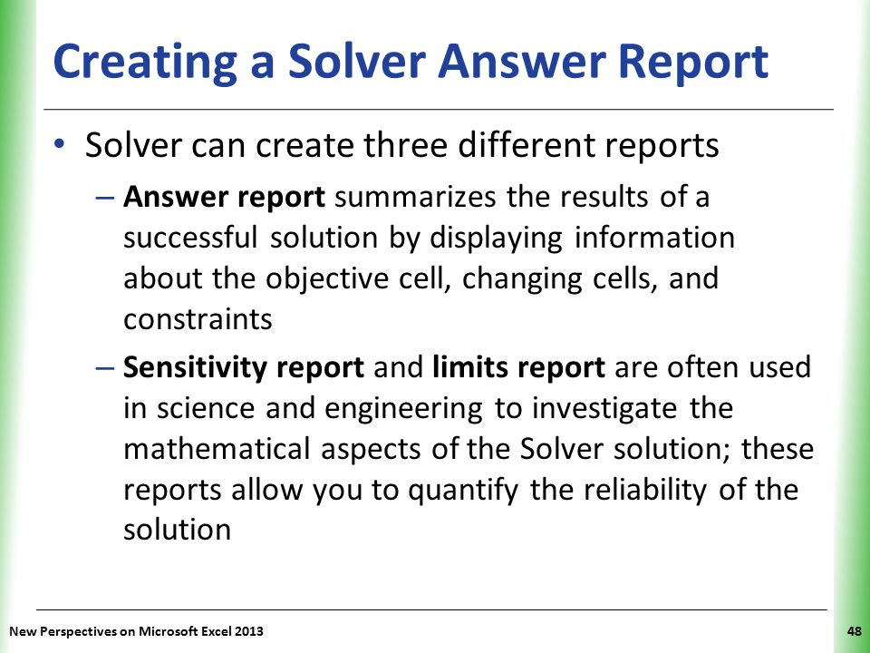 Creating a Solver Answer Report