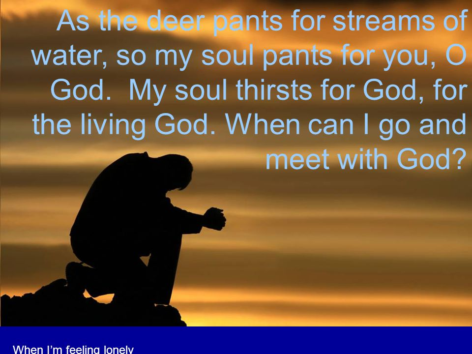 As the deer pants for streams of water, so my soul pants for you, O God. My soul thirsts for God, for the living God. When can I go and meet with God