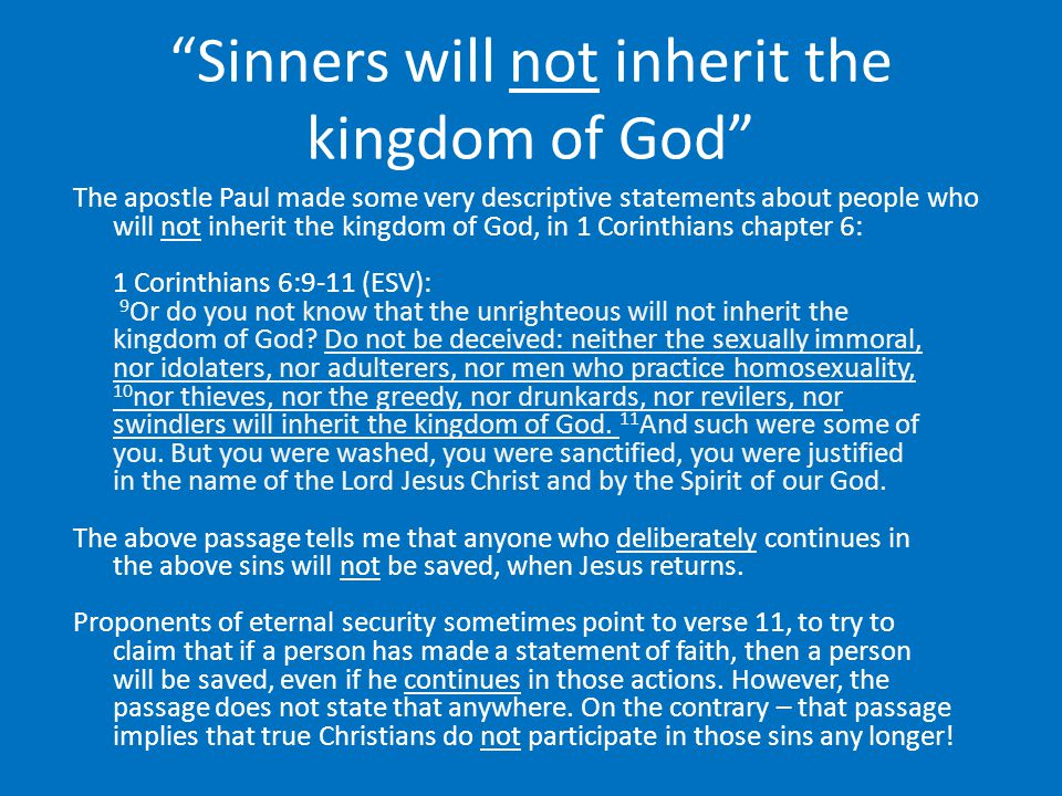 Sinners will not inherit the kingdom of God