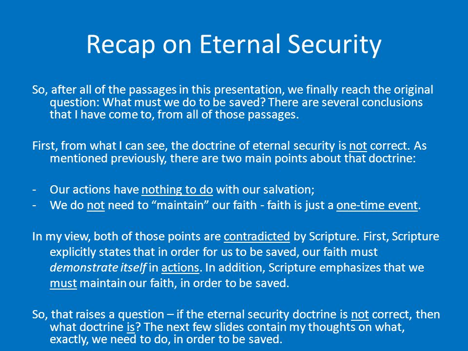 Recap on Eternal Security