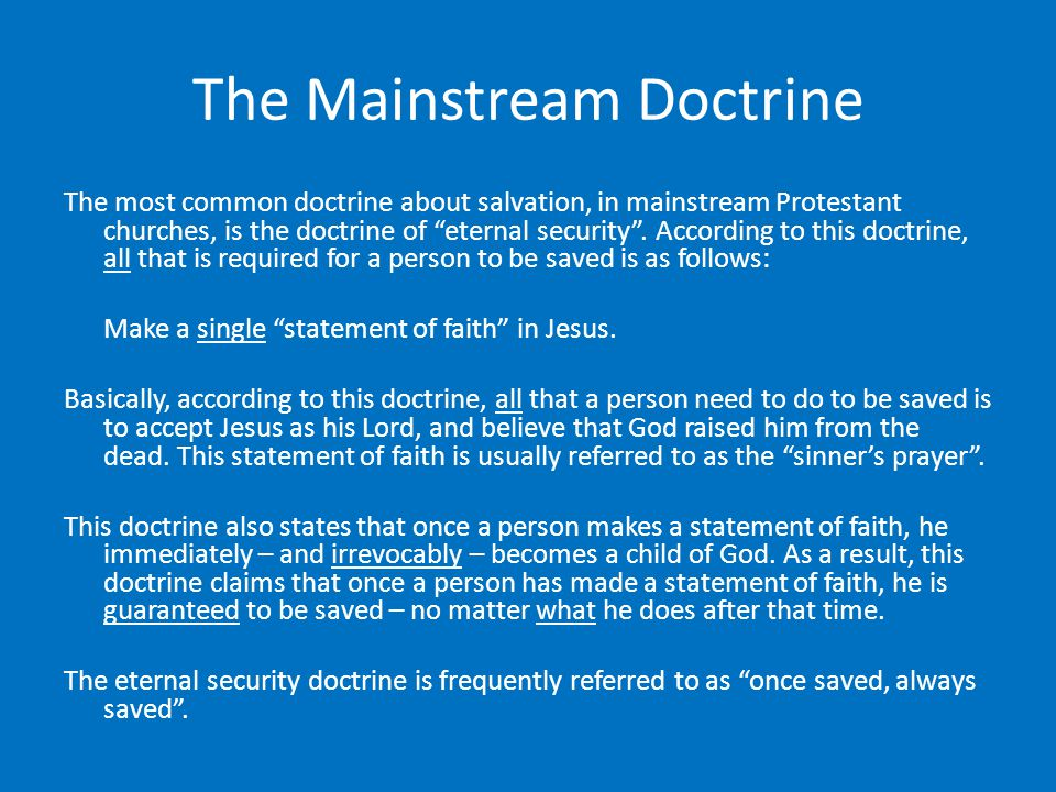The Mainstream Doctrine