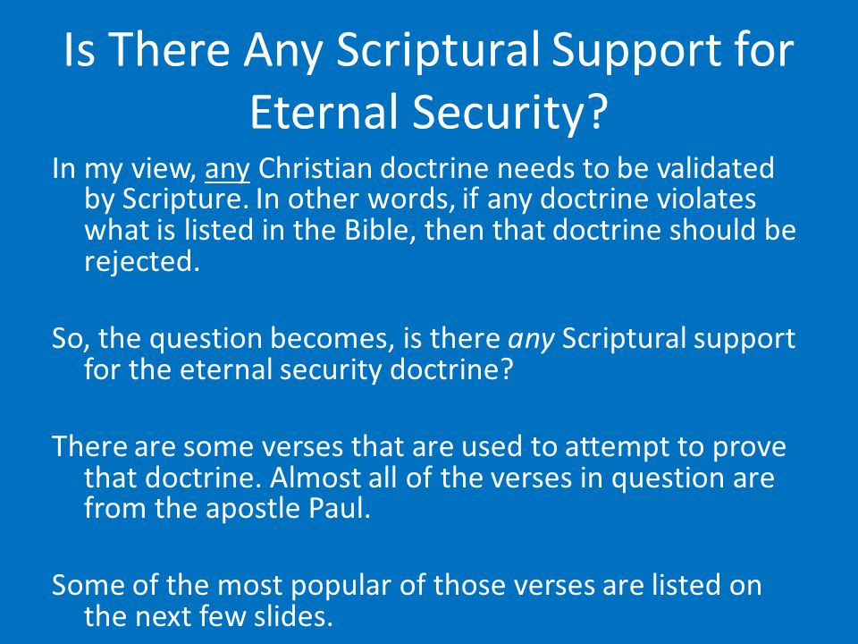 Is There Any Scriptural Support for Eternal Security