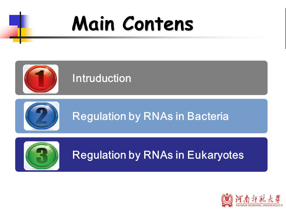 Main Contens Intruduction Regulation by RNAs in Bacteria