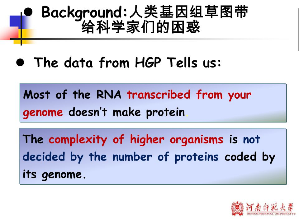 Background:人类基因组草图带 给科学家们的困惑 The data from HGP Tells us: