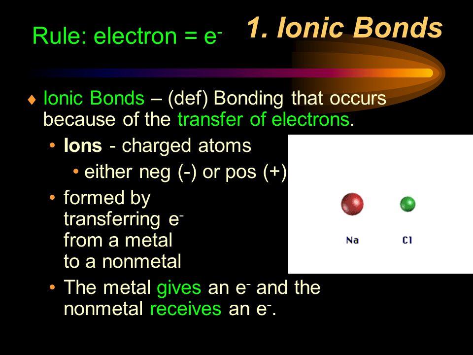 1. Ionic Bonds Rule: electron = e-