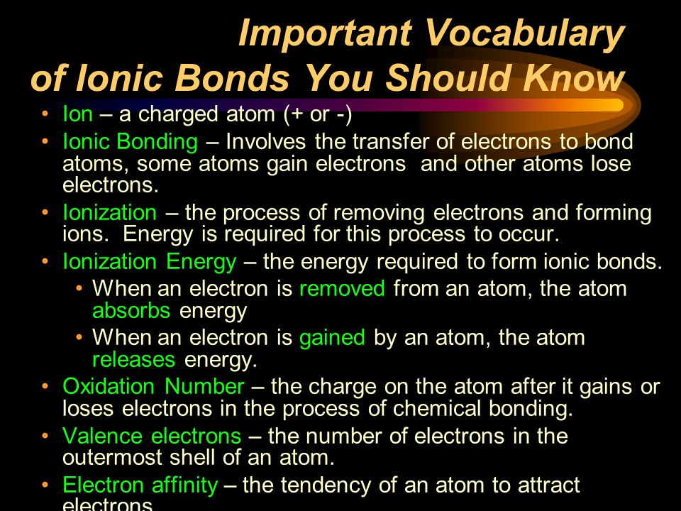 Important Vocabulary of Ionic Bonds You Should Know