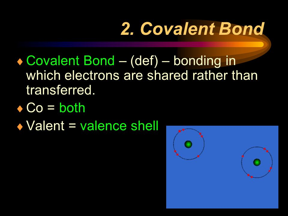 2. Covalent Bond Covalent Bond – (def) – bonding in which electrons are shared rather than transferred.
