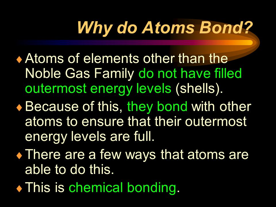 Why do Atoms Bond Atoms of elements other than the Noble Gas Family do not have filled outermost energy levels (shells).