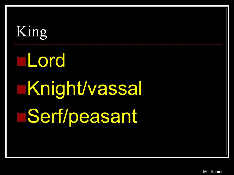King Lord Knight/vassal Serf/peasant