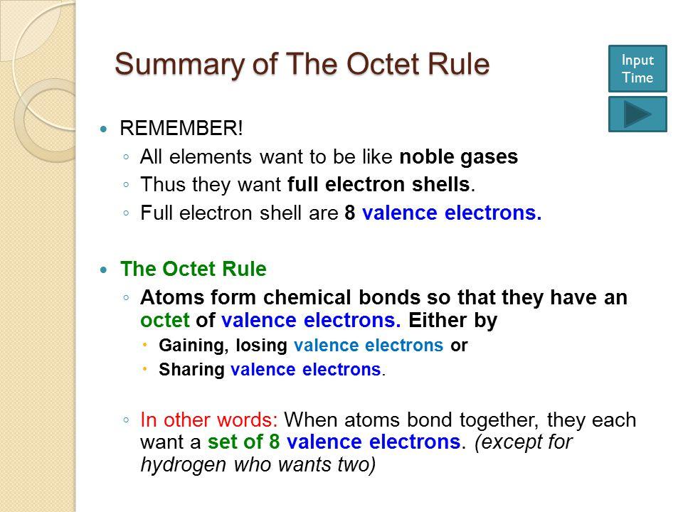 Summary of The Octet Rule