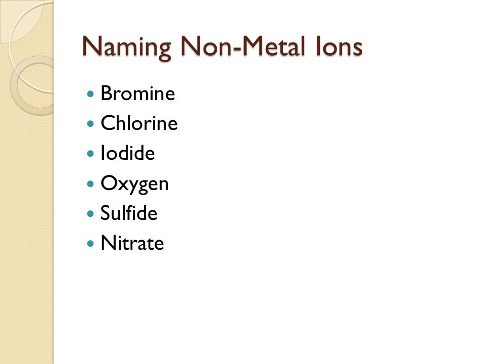 Naming Non-Metal Ions Bromine Chlorine Iodide Oxygen Sulfide Nitrate