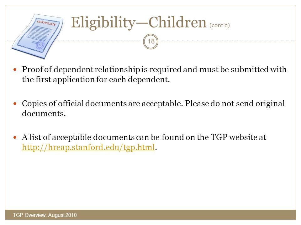 Eligibility—Children (cont'd)