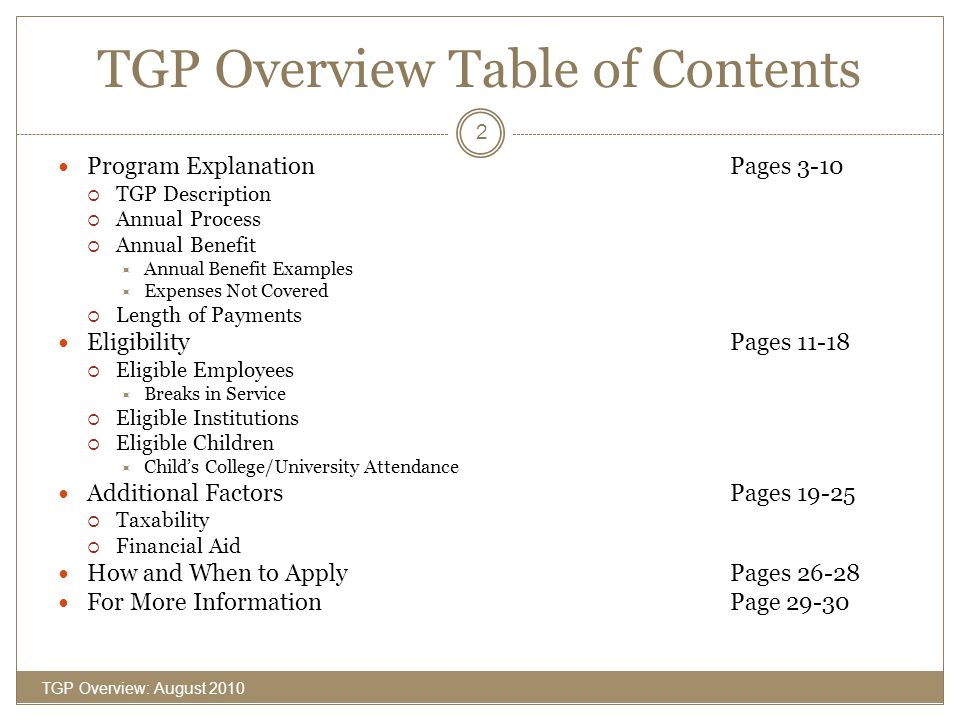 TGP Overview Table of Contents