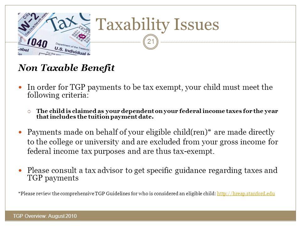 Taxability Issues Non Taxable Benefit