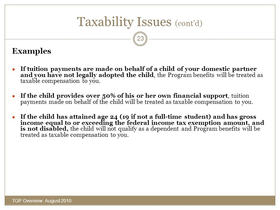 Taxability Issues (cont'd)
