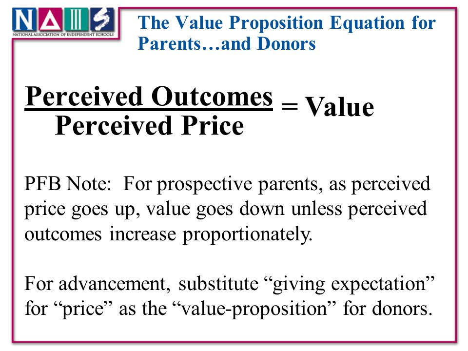The Value Proposition Equation for Parents…and Donors