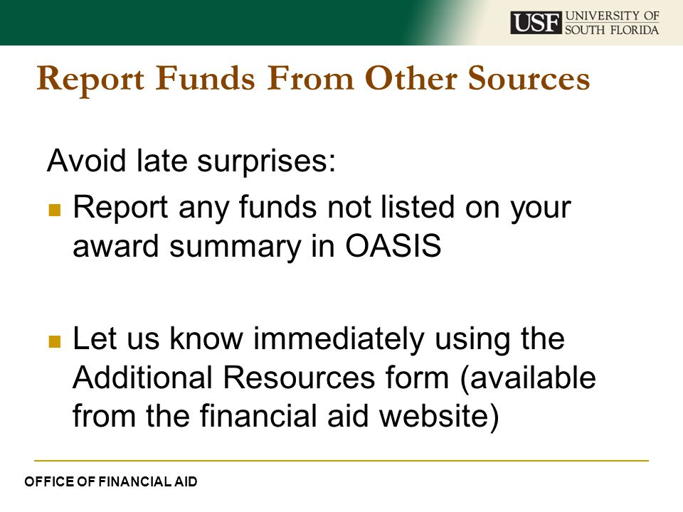 Report Funds From Other Sources