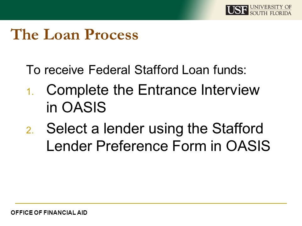 The Loan Process Complete the Entrance Interview in OASIS