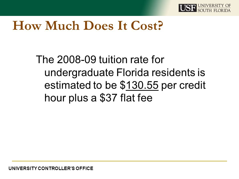 How Much Does It Cost The 2008-09 tuition rate for undergraduate Florida residents is estimated to be $130.55 per credit hour plus a $37 flat fee.