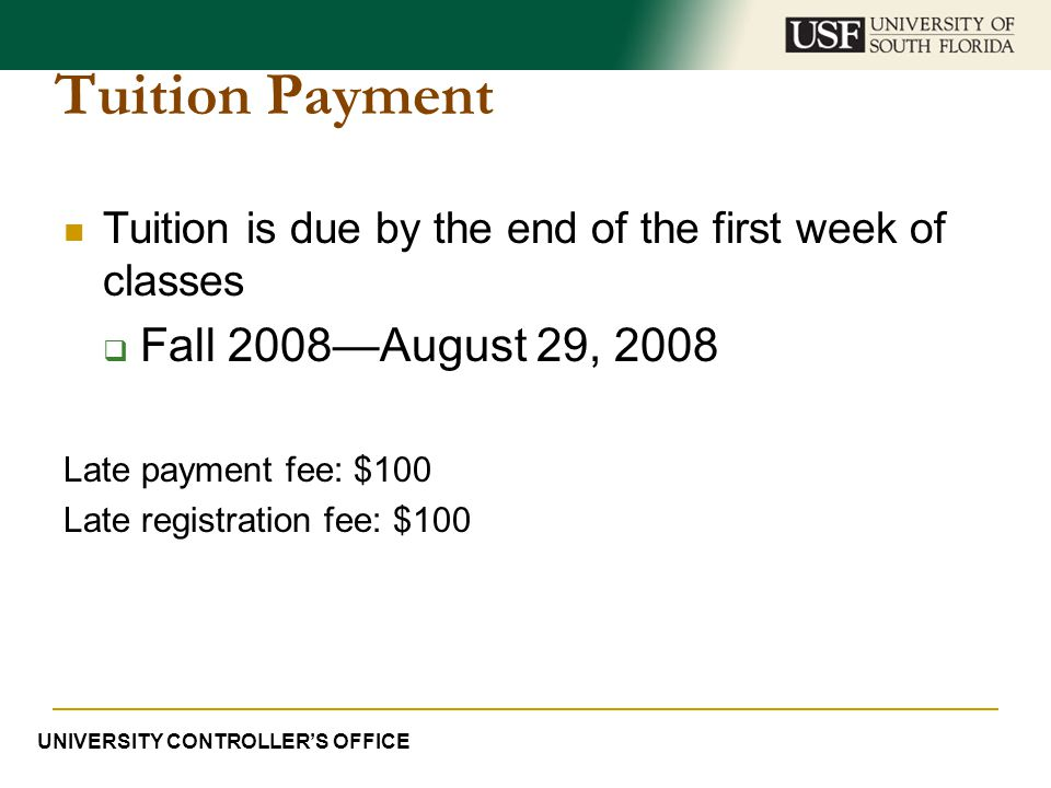 Tuition Payment Fall 2008—August 29, 2008
