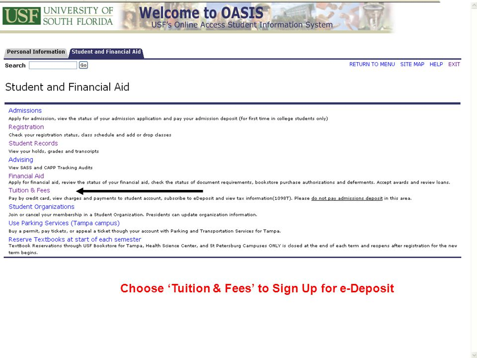 Choose 'Tuition & Fees' to Sign Up for e-Deposit