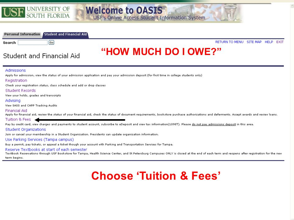 Choose 'Tuition & Fees'