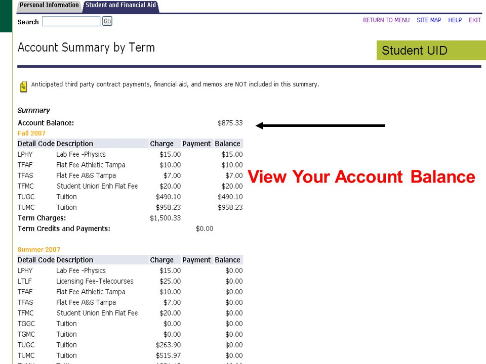 View Your Account Balance