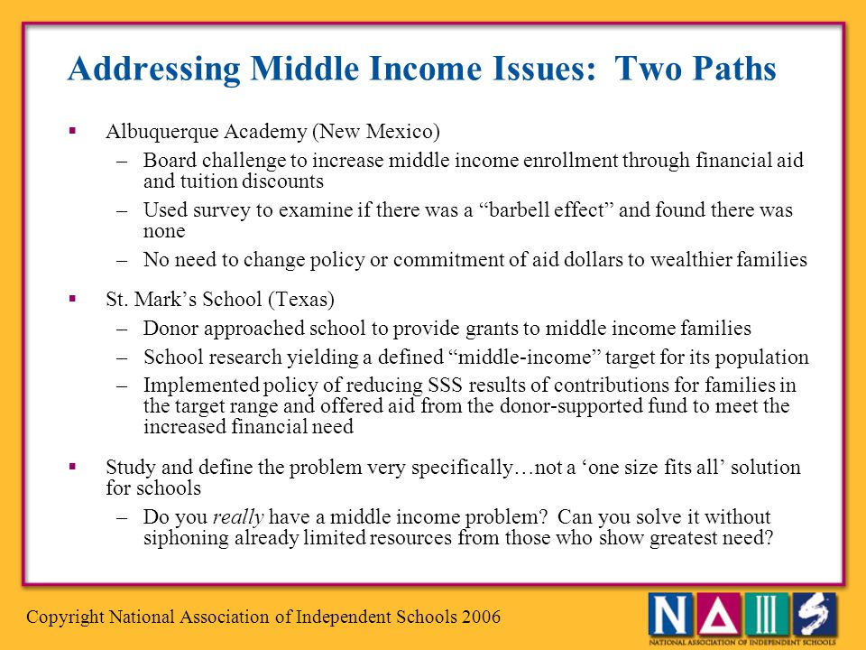 Addressing Middle Income Issues: Two Paths