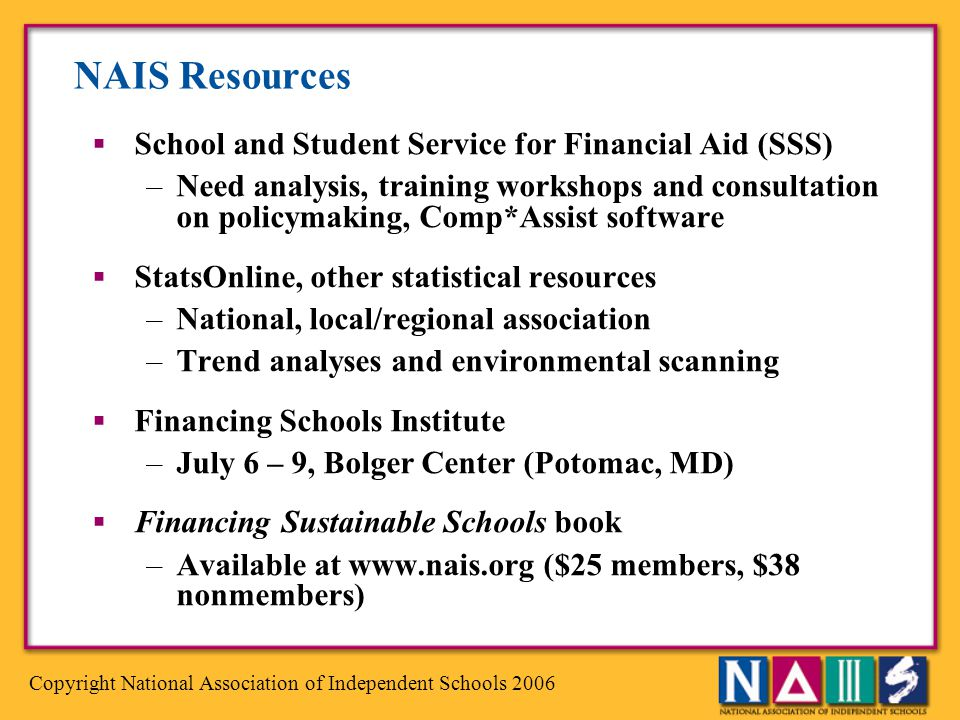 NAIS Resources School and Student Service for Financial Aid (SSS)