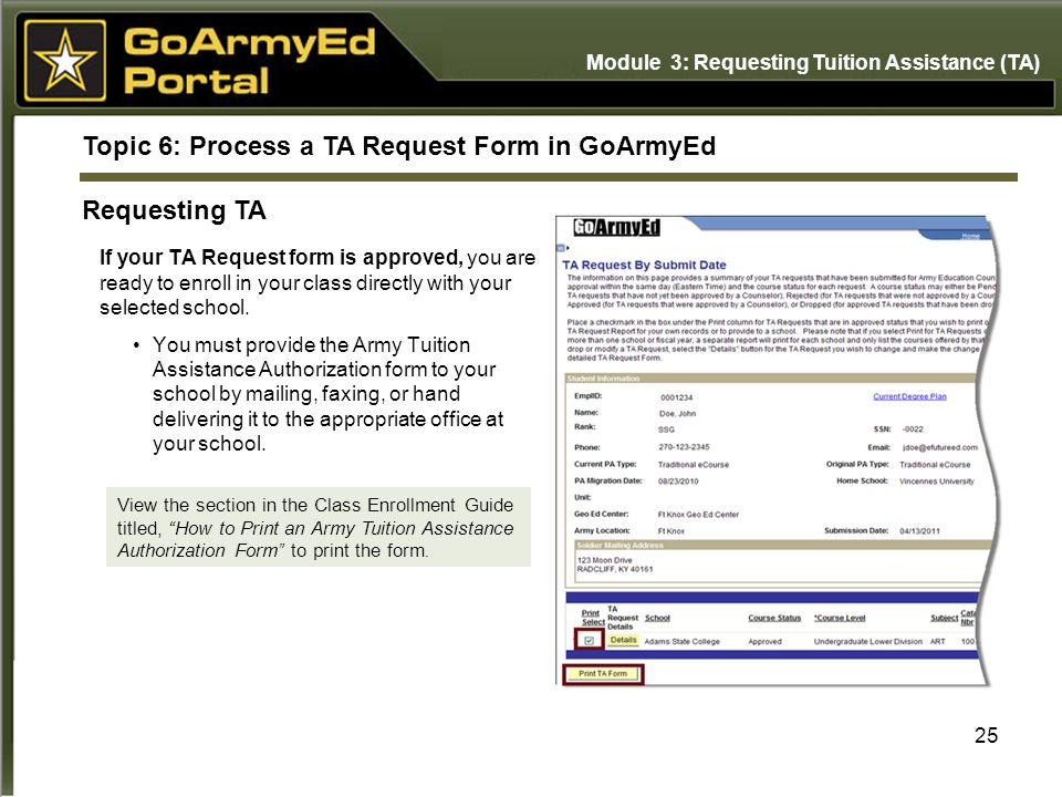 Topic 6: Process a TA Request Form in GoArmyEd Requesting TA