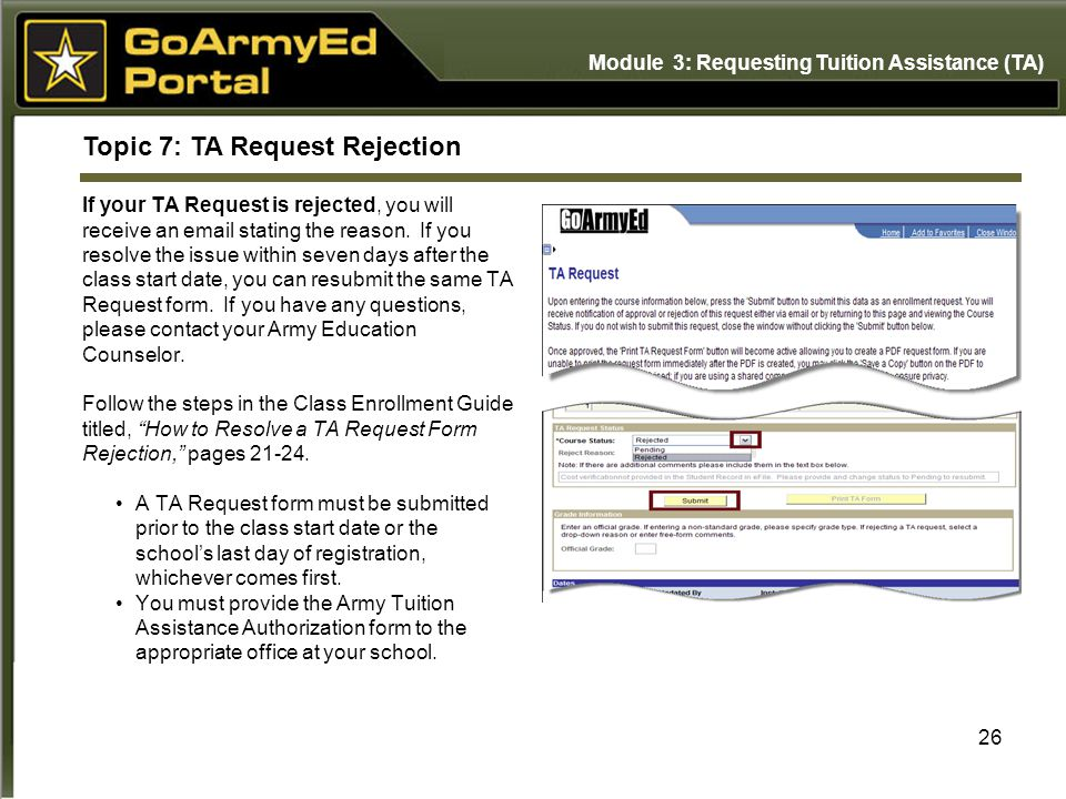 Topic 7: TA Request Rejection