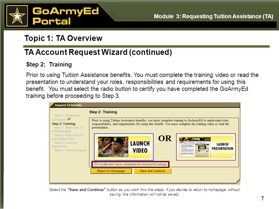 Topic 1: TA Overview Step 2: Training