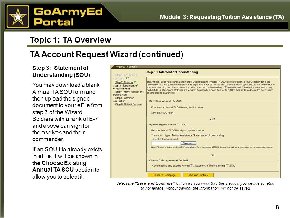 Topic 1: TA Overview TA Account Request Wizard (continued)
