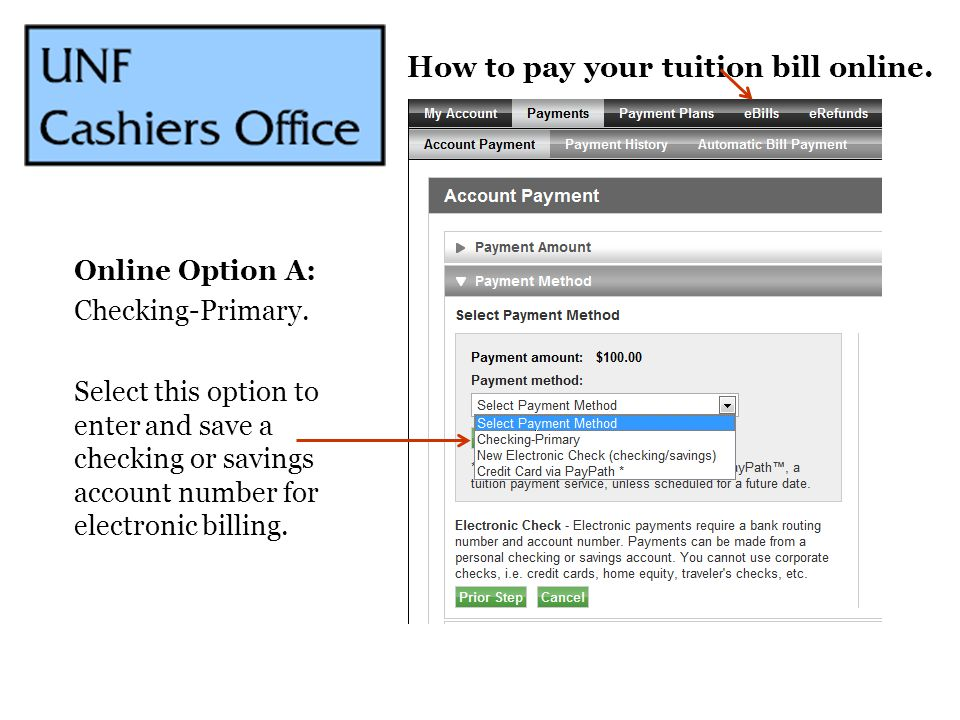 How to pay your tuition bill online.