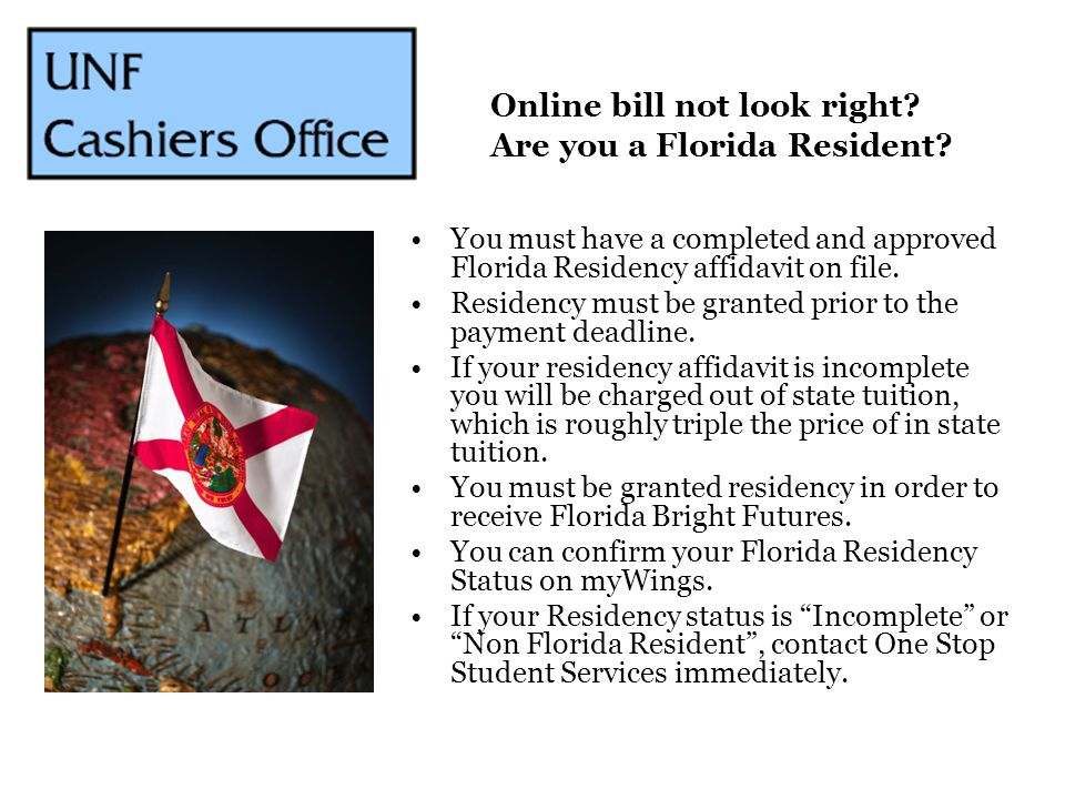 Online bill not look right Are you a Florida Resident
